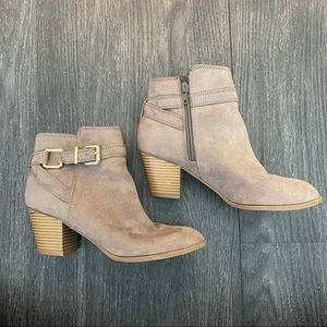 Brown Suede Express Booties with Buckle Detail
